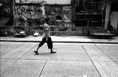 (David Davidoff) Tags: street people walking graffiti blackwhite cityscape rangefinder smoking urbanart human vintagecamera analogue smoker kodaktmax leicam3
