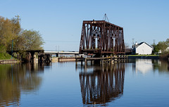 On the West Twin River (Lester Public Library) Tags: bridge water wisconsin train reflections river traintracks bridges rivers trainbridge tworivers traintrestle tworiverswisconsin westtwinriver
