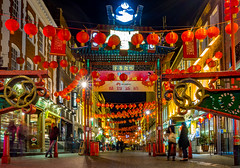 New Year 2016 (Fun@365) Tags: light red colour london night outside monkey chinatown chinesefood chinese restaurants newyear tourists lanterns colourful 2016