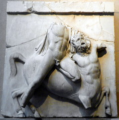 The Parthenon Sculptures – Centaur and Lapith from South metope II, British Museum (Peter O'Connor aka anemoneprojectors) Tags: 2016 ancient antiquity art artefact battleofthelapithsandcentaurs bloomsbury britishmuseum camden centaur centauromachy elginmarbles england greek kodakeasysharez981 lapith london londonboroughofcamden marble metope museum parthenon relief room18 sculpture z981 kodak uk