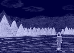 Loners' Solitude 5 - Winter Night (Renegade Zero) Tags: blue trees winter snow mountains anime smile hat illustration night clouds alone drawing mario loner
