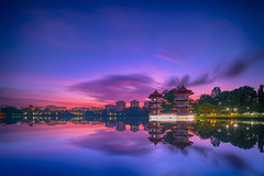 Sunrise (ystan) Tags: lake color weather sunrise pagoda twin jurong hdr ais20mmf28 d700