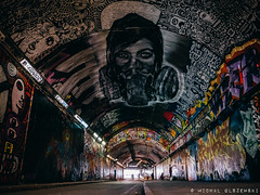 Banksy Tunnel. Waterloo. London (Micha Olszewski) Tags: england streetart london art painting graffiti mural europe unitedkingdom tunnel waterloo land civilengineering greaterlondon graffititunnel leakestreet banksytunnel landstructures