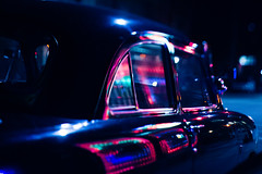 Pulled Into The Strip Late Last Night (Dan Constien) Tags: blue red cinema reflection cars car automobile lasvegas dream roadtrip story transportation dreams dreamy cinematic