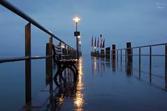 Landing Stage by Fog (Photonenblende) Tags: kressbronn outdoor fog bodensee water lake cold night nikon d50 reflexion reflection longexposure landingstage pier rain regen
