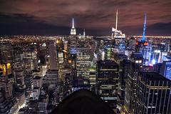 Top of the Rock (Brandon Godfrey) Tags: nyc newyorkcity longexposure usa newyork night clouds cityscape unitedstates manhattan unitedstatesofamerica midtown empirestatebuilding empirestate wtc topoftherock eastcoast cityskyline oneworldtrade