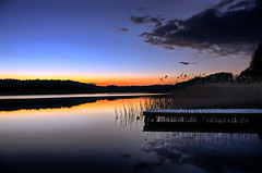 A lake in dusk (* mariozysk *) Tags: light lake pier dock warm dusk poland polska jezioro niebo spokj swaderki