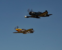 Fearsome Pair (EHPett) Tags: fighter airshow rhodeisland worldwarii merlin corsair mustang northamerican vought