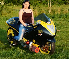 Natalie_3228 (Fast an' Bulbous) Tags: santa street england woman hot sexy girl bike race pose hair drag pod nikon long outdoor gimp super babe chick jeans turbo strip moto motorcycle biker suzuki brunette hayabusa busa d7100