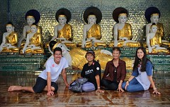 BieJee, Kanitha, Bunrod and Samantha at Shwedagon (Bn) Tags: myanmar birma burma yangon rangoon former capitol street candid monk bikes taxi city six million people buddhist temple botataung pagoda botahtaung gautama buddha hair 2500 years old religions locals 40m high seaport dazzling road car gold kyats umbrella sunshine fietstaxi gate entree hollow destroyed rebuild colonial overwhelmed infrastructure slums pilgrims buddism traffic cycling shwedagonpagoda 2600years 99m portrait group