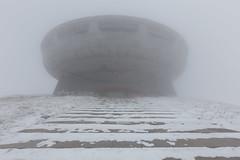 Buzludzha dans le brouillard (Julien Cornette) Tags: winter hiver ufo communism extrieur brouillard brume bulgarie congrs buzludzha bouzloudja