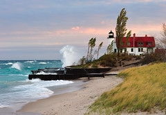 Sunrise at Point Betsie Lighthouse - Crystallia, Michigan (Michigan Nut) Tags: usa lighthouse storm beach nature geotagged photography midwest waves wind michigan landmark lakemichigan johnmccormick pointbetsielighthouse michigannutphotography