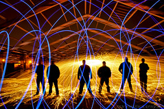 THE NIGHT NUTTERS (JRT ) Tags: longexposure roof wallpaper sky lightpainting night nikon steel warehouse burning burns burnt sparks derelict steelwool wirewool d300s nightnutters steelwoolspinning wirewoolspinning wirewoolburning johnwarwood steelwoolburning flickrjrt thenightnutters