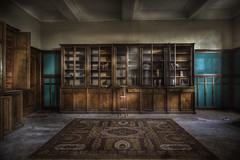 Abandoned monastery library :  (explore ) (andre govia.) Tags: wood building abandoned buildings carpet lost book decay library books andre explore monastery left govia