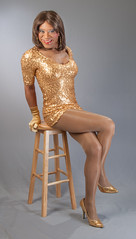 Golden Goodness! (kaceycd) Tags: pumps highheels tgirl gloves satin stilettoheels sequins pantyhose crossdress spandex lycra tg stilettos minidress operagloves