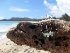 IMG_7540 (LindseysBeachGlass) Tags: blue sea white green beach glass colors leather silver hawaii wire aqua handmade teal jewelry clear bracelet hawaiian earrings seaglass rarecolor olibe
