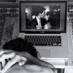 Day 166 (Michael Rozycki) Tags: wedding portrait apple self canon project computer kiss sad image personal laptop screen 7d past regret 1755