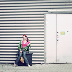 Sitting Backdoor Pose (helle-belle) Tags: portrait woman selfportrait me sommer supermarket 2012 backdoor portræt colourfull supermarked week25 selvportræt sittingpose 2552 hellebelle 52wsp bagindgang canoneos5dmrkii thebigfivetwo 522012 52weeksthe2012edition weekofjune17 week252012