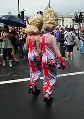 Wear the Flag (kenjonbro) Tags: uk england male london westminster highheels dress rear trafalgarsquare wig blonde unionjack unionflag handbag charingcross sw1 impersonator royalist kenjonbro fujihs10 worldpride2012