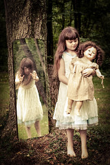 It's MY Doll (Kilkennycat) Tags: reflection tree girl forest canon vintage mirror doll child dress antique 50mm14 creepy spooky playtime 500d t1i