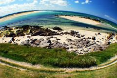 Beach (David C Box) Tags: sea summer sun holiday france tourism beach grass sunshine coast sand brittany rocks bluesky tourist fisheye coastline finistere plouneourtrez lensadapter nikond60 optekafisheye