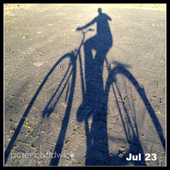 On my bike {205-366} (PeterChad) Tags: shadow bike wheel cyclist ride transport health boris fitness overground pennyfarthing fit pedal iphone bycycle takearide takeabike borisbike