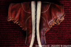 Lumberjack Boot (2day929) Tags: old red brown man male leather boot boots handmade pair style dirty retro used handiwork americaneagle secondhand lumberjack laces soiled stockphoto   nikond90  cv40 cosinavoigtlnderultron40mmf2   americaneaglelumberjackboot aelumberjackboot