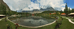 panoramic view of shangrila resort,skardu,pakistan (TARIQ HAMEED SULEMANI) Tags: pakistan panorama tourism colors trekking canon shangrila panasonic aslam reflexions tariq arif skardu ghouri concordians sulemani gulraiz panoramafotogrfico tariqhameedsulemani