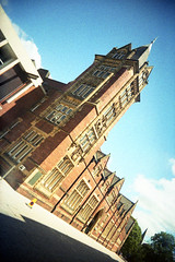 Yorkshire College (Saturated Imagery) Tags: film 35mm campus lomo xpro lomography crossprocessed saturated colours toycamera wideangle slidefilm uws universityofleeds expiredfilm 22mm vivitarultrawideandslim epsonv500 yorkshirecollege agphotographic scotchchrome8003200