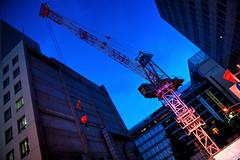 Lift Me Up! (hidesax) Tags: sunset building japan tokyo site nikon shinjuku raw crane dusk nikkor hdr consruction 5xp liftmeup nikkor2470mmf28ged hidesax d800e nikond800e