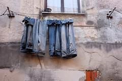 (okapix) Tags: window outdoors jeans laundry hanging
