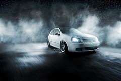 From Rain and Dark Nights (Ronaldo.S) Tags: mist motion rabbit rain fog vw movement nikon smoke rolling mkv mk5 alienbees b800 d700