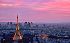 Eiffel Tower II (Rebecca Ang) Tags: city longexposure light sunset sky urban paris france color colors architecture buildings lights glamour cityscape purple eiffeltower eiffel aerial aerialphoto pinksky glamor goldenhour urbanarchitecture delayedexposure rebeccaang