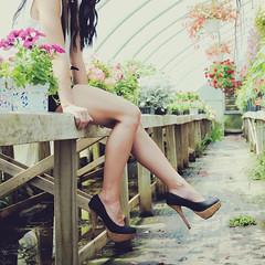 Secret Garden (NEW|photography) Tags: flowers summer hot ma model legs farm massachusetts newengland greenhouse heat heels shorts mass suspenders bridgewater
