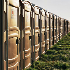 Portaloo Sunset (g austin) Tags: camping sunset music festival convention 2012 fairport cropredy bronicaetrs