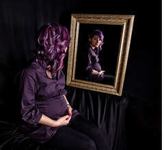 PURPLE YAZMIN (CJs STUDIO) Tags: black colour reflection classic girl beauty hair studio mirror model purple pregnant ornate