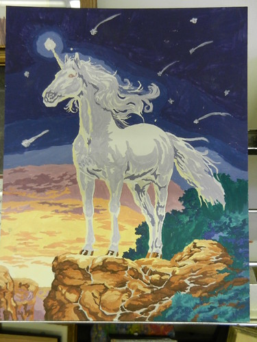 Paint by Number Unicorn in a meteorite shower.