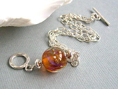 Sundown - Sold (Beguiled By The Bead) Tags: amber jewelry jewellery chain bracelet lampwork artisan sterlingsilver