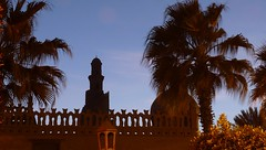 Serene (Image of the mind) Tags: africa blue light sunset sky building tree architecture gate mediterranean dusk minaret islam faith religion egypt mosque palm cairo arab islamic ibntulun