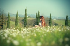 the flower nympth (peculiarnothings) Tags: park portrait italy flower nature daisies outdoors italia tuscany sit pick