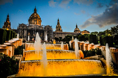 Barcelona Palau Nacional and Magic Fountain of Montjuic - Barcelona Spain (mbell1975) Tags: barcelona show light espaa orange water fountain yellow lights evening spain dusk magic palace catalonia espana font waterfountain nacional palau catalua montjuic perfomance mgica ilobsterit