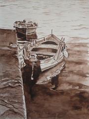 Monochromatic boat, by Vnia F. (Dona Mincia) Tags: seascape art water gua watercolor painting paper landscape boat mar barco arte monochromatic paisagem study pintura aquarela monocromtico tonsurton tomsobretom
