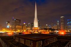 Chicago After Dark # 18   (EXPLORE) (benchorizo) Tags: longexposure chicago skyline nikon cityscape fountains buckinghamfountain chicagoist banias citynights d90 benchorizo romeobanias