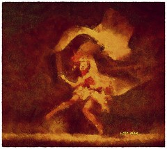 Fire dance - Danza del fuego (Leo Bar) Tags: art texture painting dance artwork ballerina colorful danza digitalart sensual moderndance awardtree leobar pixinmotion netartii