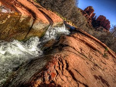 Flowing Water Cathedral Rock (KnightedAirs) Tags: red arizona mountain water rock digital canon photography photo stream sedona grand powershot epic hdr formations s100