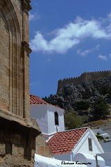 Lindos Rodos (Eleanna Kounoupa) Tags: blue sky church architecture clouds mediterranean greece tiles fortress rodos lindos traditionalarchitecture traditionalvillages       dodecaneseislands