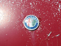 A BEAT ALFA ROMEO GTV 2000 INIEZIONE IN JUNE 2016 (richie 59) Tags: auto newyork cars car rural america emblem outside rust automobile unitedstates weekend country sunday rusty faded willow chrome rusted beat vehicle rusting newyorkstate oldcar alfaromeo coupe sportscar wornout redcar repairshop 2016 castmetal fadedpaint ulstercounty italiancar motorvehicle europeancar autorepairshop ulstercountyny caremblem oldsportscar iniezione 1970scar 2010s willowny alfaromeoiniezione alfaromeogtv2000 richie59 townofwoodstock oldalfaromeo townofwoodstockny june2016 june262016