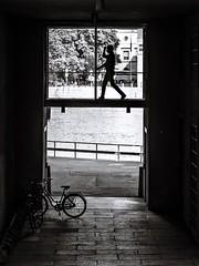 Doing the holiday dance (Per sterlund) Tags: street people blackandwhite bw bike silhouette walking blackwhite noiretblanc sweden stockholm schweden streetphotography panasonic sverige scandinavia bnw baw svartvitt gatufoto myntgatan