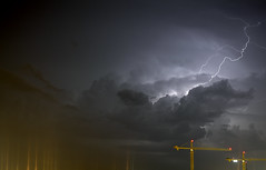 A little bit of electric for your night. (eL Bz) Tags: sky cloud storm weather cranes bolt bolts lightning lincolnnebraska nebraskathunderstorms