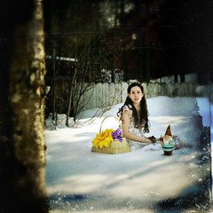 Day One Hundred and Fourteen (XeniaJoy) Tags: flowers winter selfportrait snow cold girl alaska self hair square spring gnome basket anchorage 365 hopeful brownhair 365days armywife playingwithbrushestexture